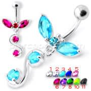 Fancy Jeweled 925 Sterling Silver Dangling Navel Ring