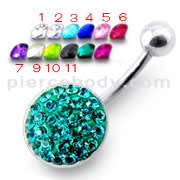 Silver Fancy High Quality Zircona Jeweled 316L SS Belly Ring