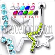 Silver Fancy Jeweled Star Banana Bar Belly Button Ring