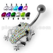 Fancy Frog Jeweled Silver Belly Ring