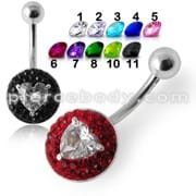 Fancy Red CZ Jeweled Heart Shape Stone Studded Silver SS Banana  Belly Navel Ring