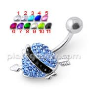 Jeweled heart Silver Navel Ring