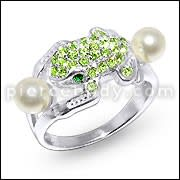 Jeweled Frog Fashion Silver Ring