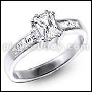 Cubic Zirconia Single Stone centered Jeweled Fashion Silver Ring