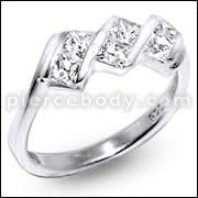 Zirconia Jeweled Fashion Silver Ring