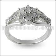 Multi CZ Jeweled Fashion Silver Finger band
