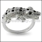 Alligator Jeweled Fashion Silver Ring