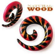 Colorful Painted Spiral Wooden Gauge Ear Fake Expander