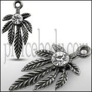 Clear Jeweled Marijuna Leaf Pendant