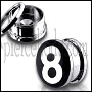 #8 Logo With SS Screw Fit Ear Tunnel