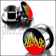 SS Internal Screw Fit With Flame Logo Ear Tunnel