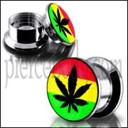 SS Internal Screw Fit Rasta Marijuna Logo Ear Tunnel