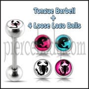 Tongue Barbell with 4 Free Scorpian Logo Ball