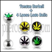 Tongue Barbell with 4 Free Marijuana Logo Ball