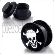 Black UV Internal Skull Logo With Screw Fit Ear Tunnel