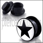 Black UV Internal Black Star Logo With Screw Fit Ear Tunnel
