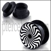 Black UV Internal Eye Swirl Logo With Screw Fit Ear Tunnel