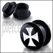 Black UV Internal Irish Cross Logo With Screw Fit Ear Tunnel