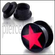 Black UV Internal red Star Logo With Screw Fit Ear Tunnel