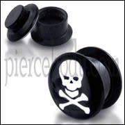 Black UV Internal White Skull Logo With Screw Fit Ear Tunnel