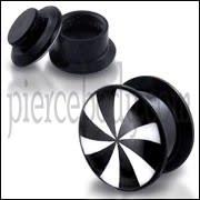 Black UV Internal Black And White Swirl Logo With Screw Fit Ear Tunnel