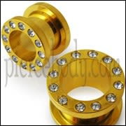 Gold Anodized Screw Fit Jeweled Flesh Tunnel