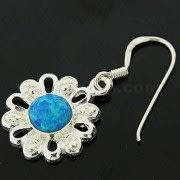 925 Sterling Silver Synthetic Dark Blue Opal in Flower Hook Ear Ring