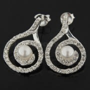 925 Sterling Silver Jeweled Fancy Centered PEARL Earring