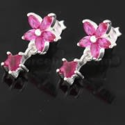 925 Sterling Silver Jeweled Flower Filigree with Star Ear Ring