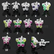 Mixed Colors Tiny Butterfly 925 Sterling Silver Ear Stud Earring