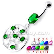 Jeweled Dangling Round Frame Belly Bar PBM2096