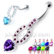 Jeweled Heart Dangling Belly Banana PBM2097