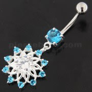 Jeweled Lotus Flower Sterling Silver Belly Button Ring
