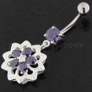 Jeweled Filigree Flower Sterling Silver Belly Button Ring