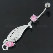 925 Sterling Silver Dotted Leaf Belly Button Ring