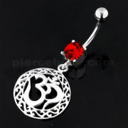 Ohm in a Floral Cut out 925 Sterling Silver Navel Bar