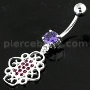 Jeweled Pear with Center Pearl Swirl Navel Belly Piercing