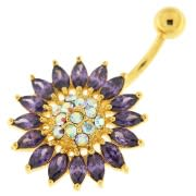 14G 10mm Yellow Gold Plated Silver Amethyst Jewel SunFlower NonMoving Belly Bar