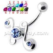 Jeweled Tribal Non Dangling Navel Belly Bar