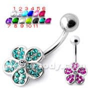 Multi Jeweled Flower Non Dangling Navel Belly Bar