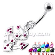 Anchor with Snake navel piercing jewellery