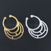 925 Sterling Silver Half Maze Horseshoe Fake Septum Piercing