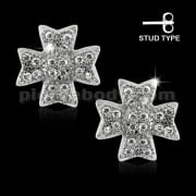 925 Sterling Silver Irish Cross Cubic Zirconia Ear Stud