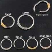 Surgical Steel 18G-1mm Hinged Segment Ring with Spring