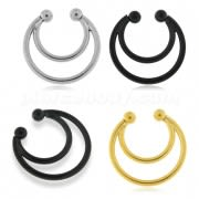 Surgical Steel Twin Circulars Fake Septum Piercing