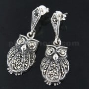 925 Sterling Silver Marcasite Owl dangling Earring