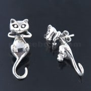 925 Sterling Silver Oxidized Split Back Cat Earring Ear Stud