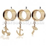 Rose Gold PVD Plated Dangling Castings Ear Flesh Tunnel