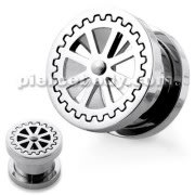 Wheel Design Handy Mirror Polished Flesh Tunnels