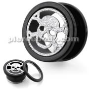 PVD Black Plated with Steel Matt Skull Motive Flesh Tunnels